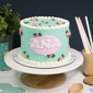 Best Teal Floral Buttercream Girl's Birthday Cake Singapore