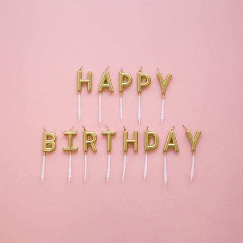 Gold Happy Birthday Candle Set