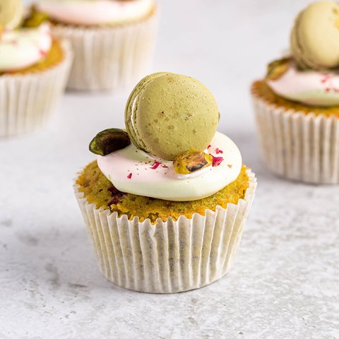 Roasted Pistachio and Rose Cupcake