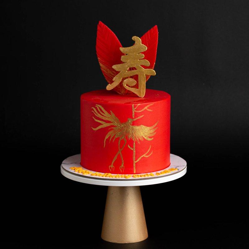 Best Elegant Modern Phoenix Longevity Birthday Cake Singapore