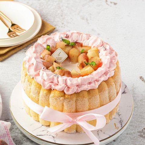 White Peach Charlotte Cake 16