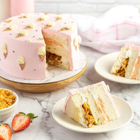 Strawberry Milk Cereal Cake 14