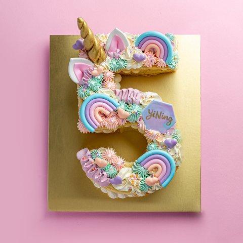 Pastel Unicorn Number Cake